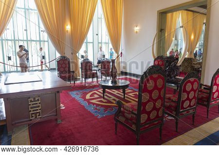 Ho Chi Minh, Vietnam - Oct 17, 2019 : Interior View Of Reception Hall Of Independence Palace In Ho C