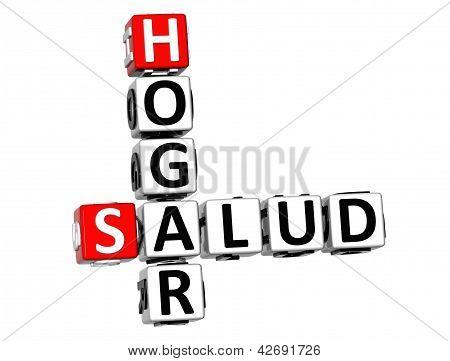 3D Home Health (hogar Salud) Crossword On White Background