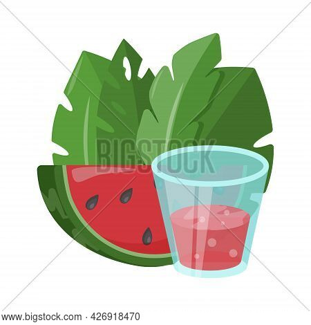 Watermelon Slice, Smoothie And Summer Leaves Isolated Vector Illustration