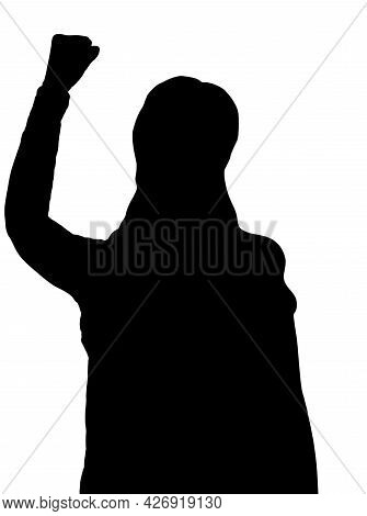 Shadow Of Activist Protesting To Reopen And End Lockdown Quarantine, 3d Illustration, 3d Rendering