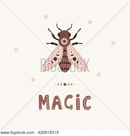 Honeybee Boho Poster. Insect With Celestial Elements. Scandinavian Design For Children Wallpaper And