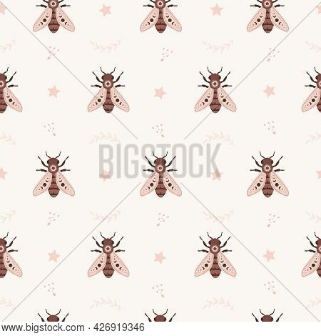 Seamless Pattern With Boho Honeybee. Insect With Celestial Elements. Witch And Magic Symbol For Text