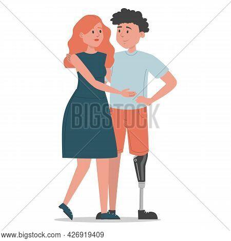 Man With Prosthetic Leg Hugs Woman Isolated