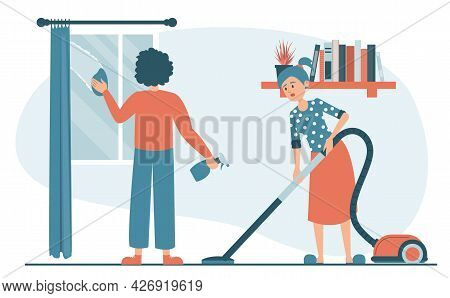 Couple Cleaning Room Vector Isolated. Domestic Chores