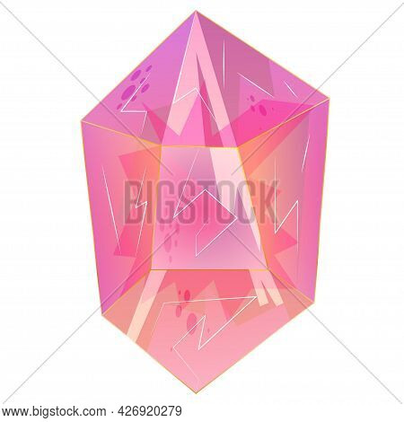 Beautiful Crystal, Gem, Jewel Is Isolated On White Background. A Colorful Stone For Games And Applic