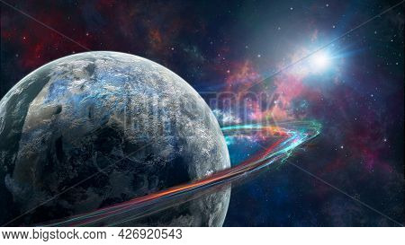 Space Background. Planet With Colorful Fractal Ring In Colorful Nebula With Stars. Elements Furnishe