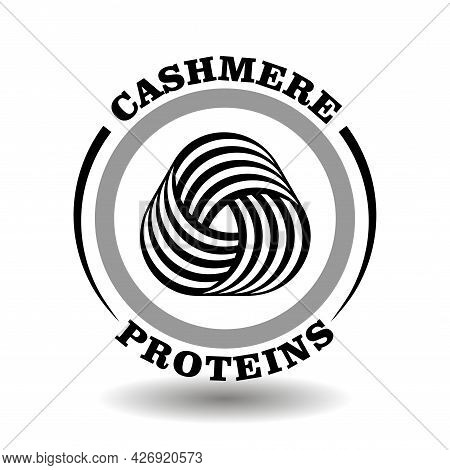 Creative Round Logo Cashmere Proteins With Triangle Woolen Clew Icon In Circle Wool Washing Symbol,