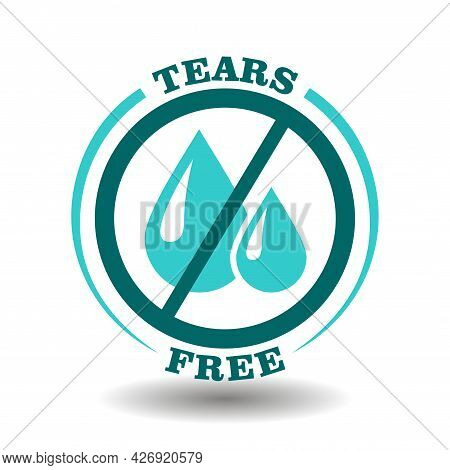 Simple Vector Round Logo No Tears, Tears Free Icon For Gentle Care Cosmetic Products With Soft Formu