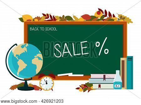 Discount Flyer Concept For School Supplies. School Board With Globe, Textbooks, Pencil And Text Sale