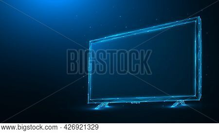 Polygonal Vector Illustration Of Led Or Lcd Tv On Dark Blue Background. Low Poly Tv Monitor.