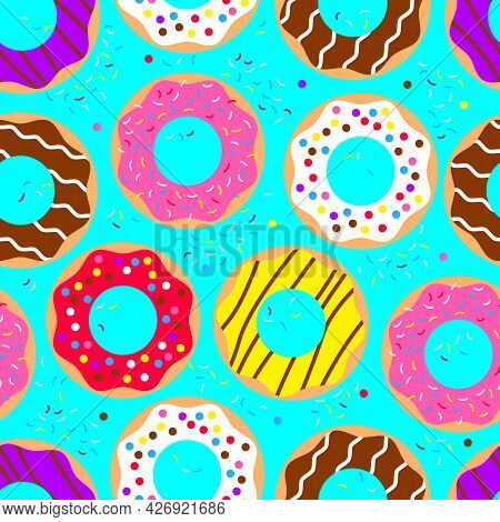 Donuts Seamless Pattern. American Sweet Food, Dessert. Top View Doughnuts Collection Into Glaze For