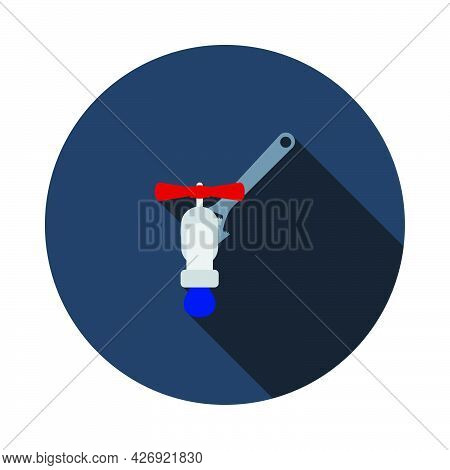 Icon Of Wrench And Faucet. Flat Circle Stencil Design With Long Shadow. Vector Illustration.