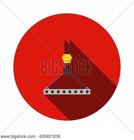 Icon Of Slab Hanged On Crane Hook By Rope Slings. Flat Circle Stencil Design With Long Shadow. Vecto