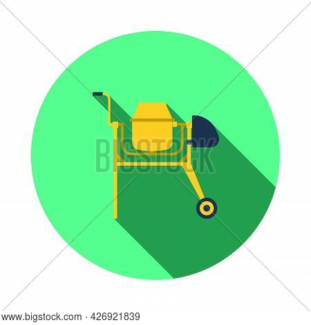 Icon Of Concrete Mixer. Flat Circle Stencil Design With Long Shadow. Vector Illustration.