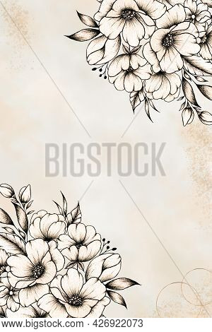 Abstract Watercolor Art Background In Vintage Style, Floral Invitation Card Template With Line Art F