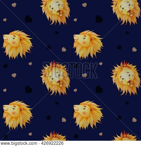 Seamless Patterns. Lions With Mane On A Dark Blue Background With Hearts. Watercolor. Illustration H