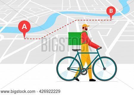 Bicycle Delivery Ordering Service Banner Design Template. Route With Geotag Gps Location Pins On Cit