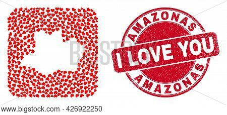 Vector Mosaic Amazonas State Map Of Valentine Heart Elements And Grunge Love Badge. Mosaic Geographi