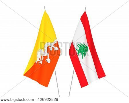 National Fabric Flags Of Lebanon And Kingdom Of Bhutan Isolated On White Background. 3d Rendering Il
