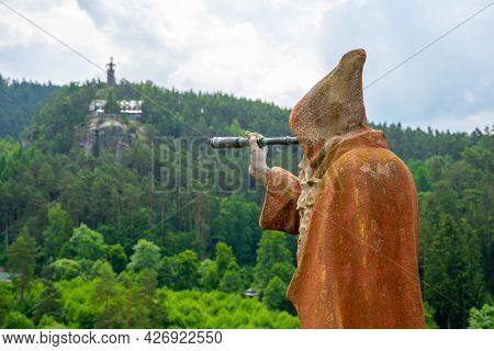 Sloup V Cechach, Czech Republic - June 26, 2020: Statue Of Old Bearded Hermit With Telescope On The