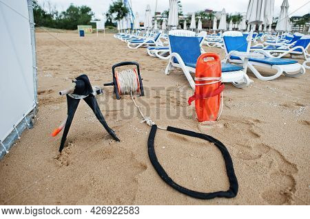 Lifesaver At The Sunny Beach On Black Sea In Bulgaria. Summer Vacation Travel Holiday.