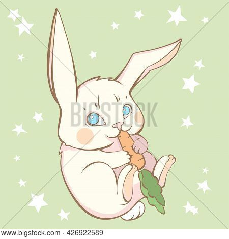 Cute Baby Vector Drawing Hare Eating Carrot On Green Background With White Stars. Cute Bunny Illustr