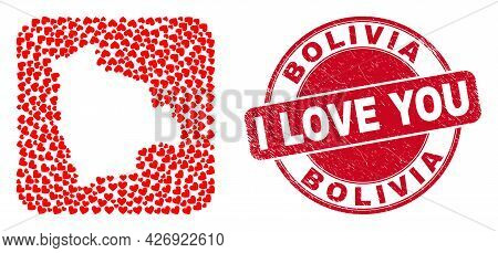 Vector Mosaic Bolivia Map Of Lovely Heart Items And Grunge Love Seal Stamp. Mosaic Geographic Bolivi