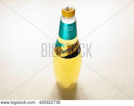 Moscow, Russia - June 10, 2021: Russian Edition Plastic Bottle Of Schweppes Bitter Lemon Water On Li