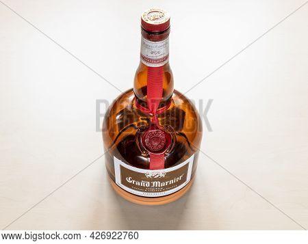 Moscow, Russia - June 10, 2021: Bottle Of Grand Marnier Cordon Rougen Orange-flavored Liqueur Create