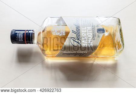 Moscow, Russia - June 10, 2021: Open Bottle Of Ballantine's Barrel Smooth Whisky. Ballantine's Scotc