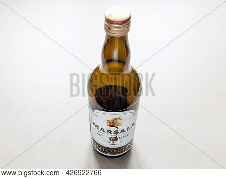 Moscow, Russia - June 10, 2021: Empty Bottle Of Sweet Marsala From Cantine Intorcia. Marsala Is Fort