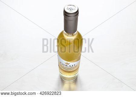 Moscow, Russia - June 10, 2021: Closed Bottle Of Hungarian Sweet White Wine Tokaji From Tokaji Keres