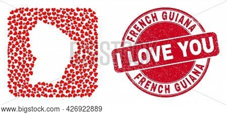 Vector Mosaic French Guiana Map Of Love Heart Elements And Grunge Love Badge. Mosaic Geographic Fren