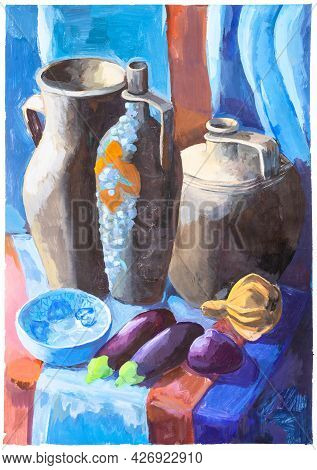 Still Life With Ceramic Jugs And Eggplants On Blue And Red Fabric Hand-painted By Tempera Paints On