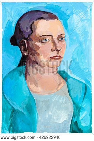 Portrait Of Elderly Woman On Blue Background Hand-painted By Tempera Paints On White Paper