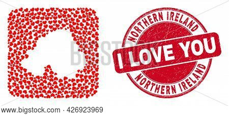 Vector Mosaic Northern Ireland Map Of Lovely Heart Items And Grunge Love Seal Stamp. Mosaic Geograph