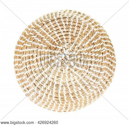 Top View Of Closed Moroccan Wicker Basket From Seagrass Isolated On White Background