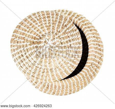 Top View Of Moroccan Wicker Basket From Seagrass With Ajar Lid Isolated On White Background