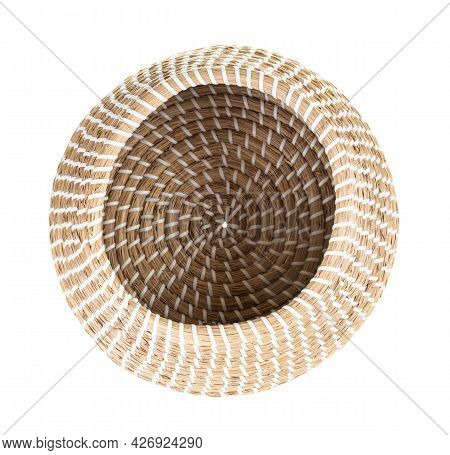 Top View Of Open Empty Moroccan Wicker Basket From Seagrass Isolated On White Background