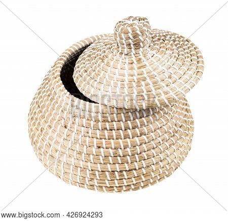Moroccan Wicker Basket From Seagrass With Slightly Open Lid Isolated On White Background