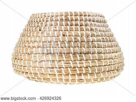 Side View Of Open Moroccan Wicker Basket From Seagrass Isolated On White Background