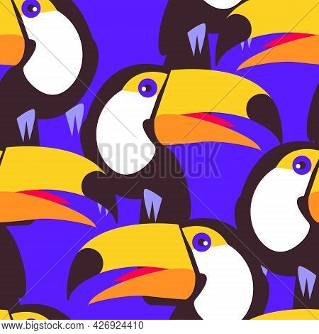 Seamless Pattern With Bird Toucan. Bright Blue Background. Large Yellow Beak. Flat Vector Print For