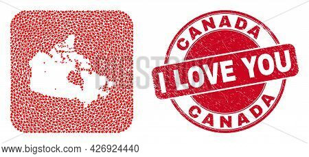 Vector Mosaic Canada Map Of Love Heart Items And Grunge Love Seal. Mosaic Geographic Canada Map Desi