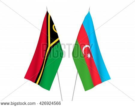 National Fabric Flags Of Republic Of Azerbaijan And Republic Of Vanuatu Isolated On White Background
