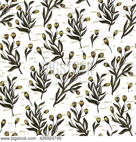 Yellow Meadow Flower Seamless Pattern Background. Rustic Elegant Romantic Simplicity Textile Vector