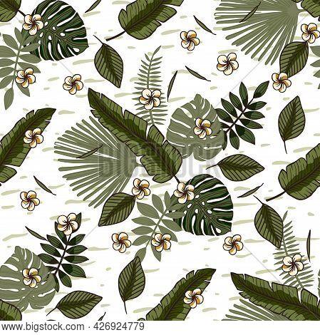 Tropical Monstera Banana Palm Leaf Seamless Pattern. Summer Jungle Paradise Nature Plant Illustratio