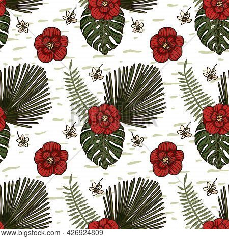 Red Hibiscus Floral Wallpaper Flower Seamless Pattern. Hawaiian Tropical Background Illustration Des