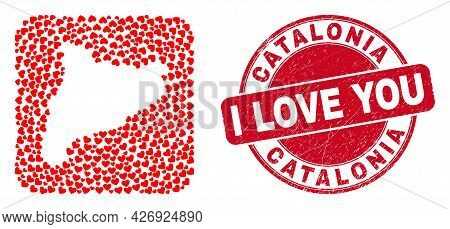 Vector Mosaic Catalonia Map Of Valentine Heart Elements And Grunge Love Stamp. Mosaic Geographic Cat