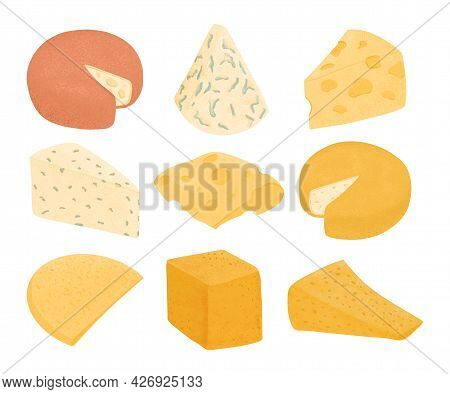 Set Of Swiss Cheeses Vector Flat Illustration. Gouda, Parmesan, Brie, Roquefort Or Maasdam Cheese.