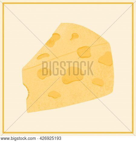 Cheese Piece Vector Flat Illustration. Maasdam Or Emmental Fresh And Tasty Cheese Cut Into Triangle.